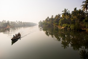 The peaceful backwaters of Kerala, India.