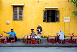 Typical breakfast in the streets of Hoi An, Vietnam.